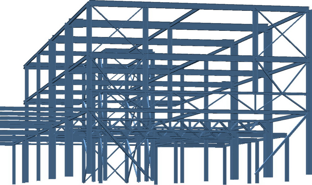 Office & Warehouse Complex, ABB, Thermi, Thessaloniki-Earthquake analysis building model, Steel trusses with long spans, Steel structure, Steel bracings