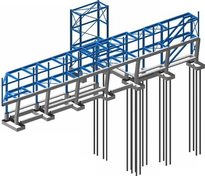 Office & Warehouse Complex, Peania, Athens-Steel structure, Micro piles, Earthquake analysis building model