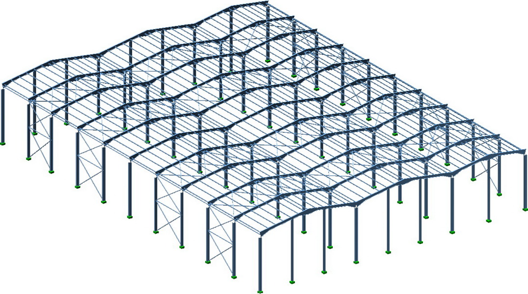 Office & Warehouse Complex, Organizer Stores, Bucharest-Earthquake analysis building model, Steel frames with long spans, Steel bracings