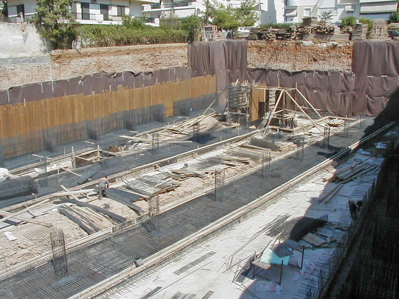 Porcelana Building, Vouliagmenis, Athens - Foundation slab of varying thickness, Reinforcement drawings, Construction phases