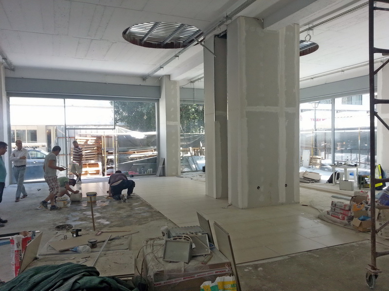 Shop Building, Ermou, Volos-Strengthening with new cores