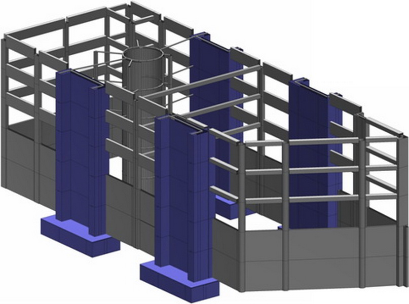 Office & Warehouse Complex, Voyatzoglou Systems, Metamorfosi, Athens-Model of strengthened building, Strengthening with new cores, Foundation of shear walls and cores