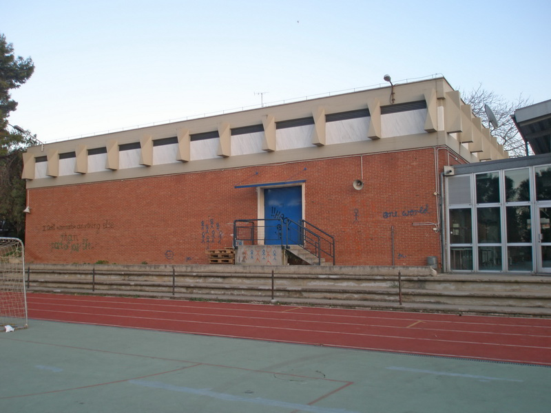 School in Athens, Test loadingSchool in Athens, Test loading, Post tensioned concrete