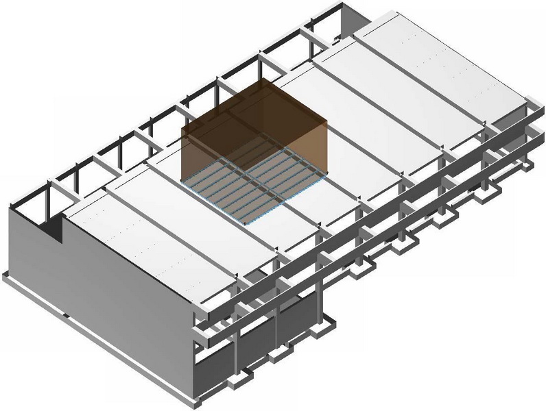 School in Athens, Test loading, Post tensioned concrete-Analysis Model, Analysis under static loads