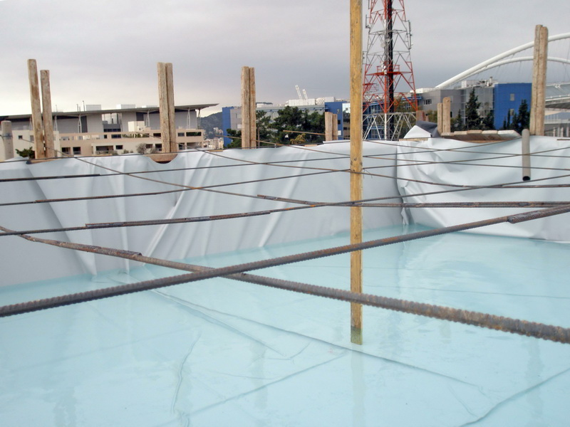 School in Athens, Test loading, Post tensioned concrete
