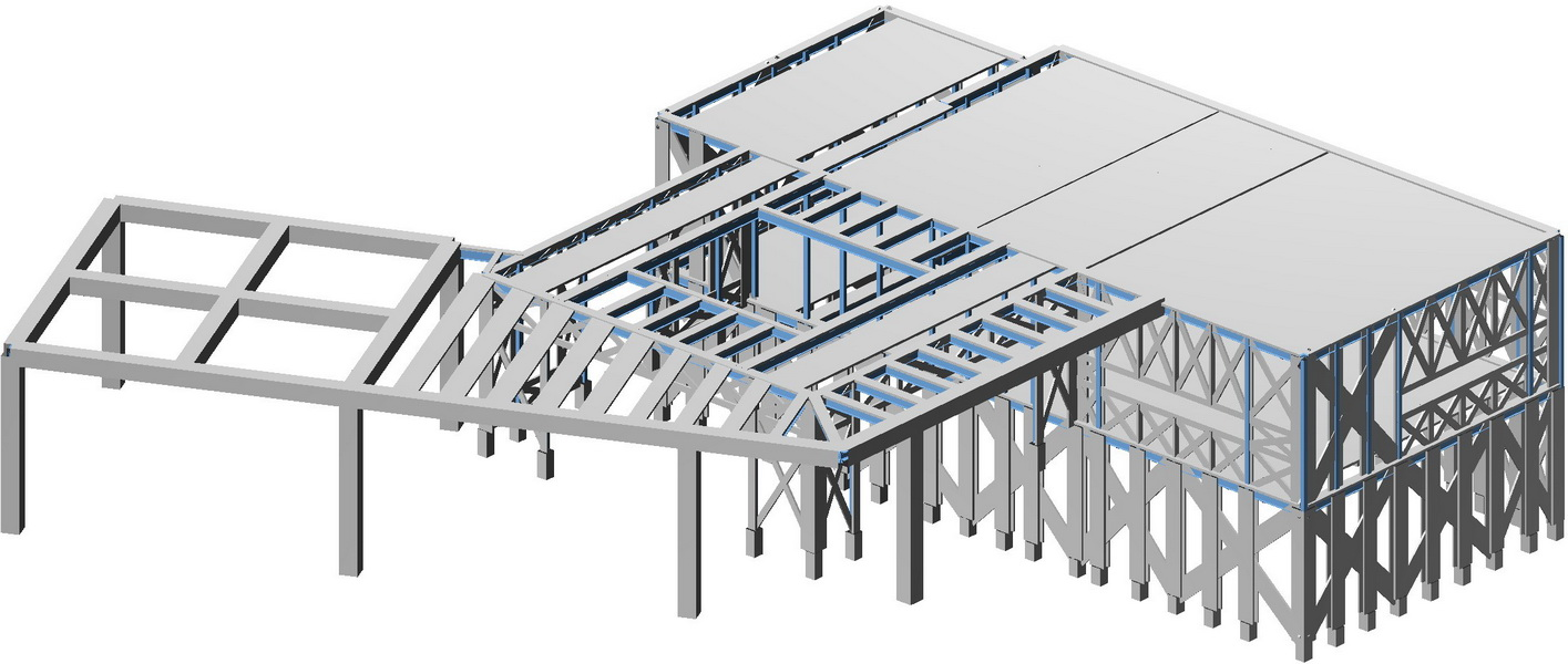 Strut and tie model, Earthquake analysis building model, Composite Steel construction with gunite