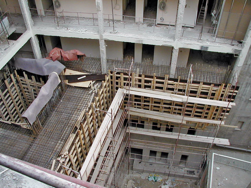 Palirroia Hotel, Chalkis-Strengthening with new shear walls and cores, Construction phases