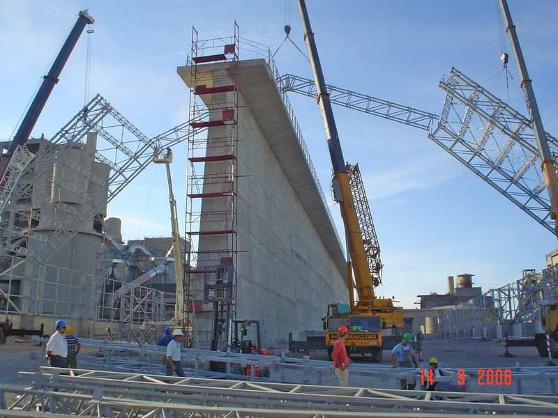 Cement Additives Storage 60.000 tn, AGET Heracles Chalkis Plant-Steel trusses with long spans, Construction phases