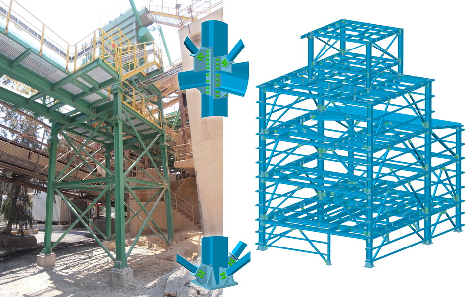 Conveying System, AGET Heracles Volos Plant-Steel structure, Earthquake analysis building model