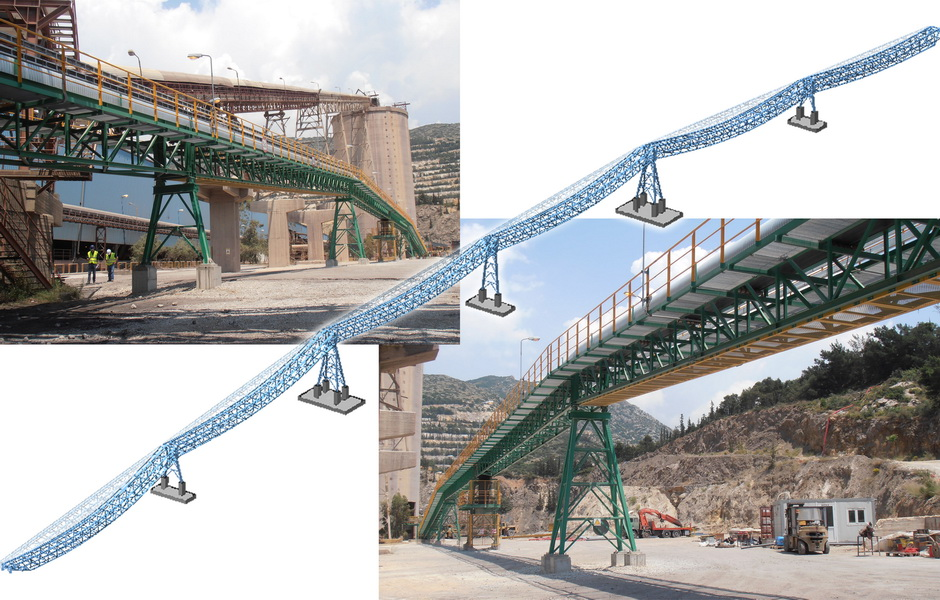 Conveying System, AGET Heracles Volos Plant-Steel trusses with long spans, Earthquake analysis building model