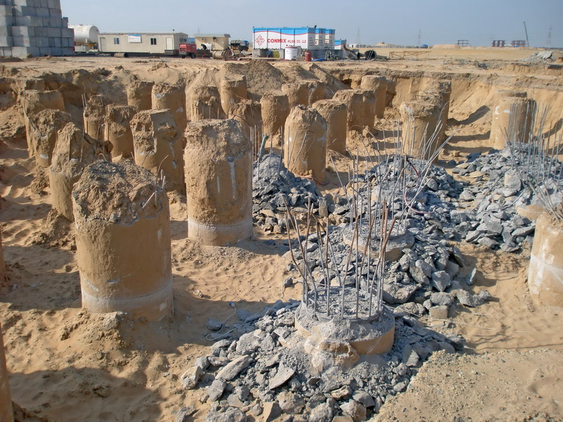HCC Cement Plant, Sharjah, U.A.E.-Bored piles, Construction phases