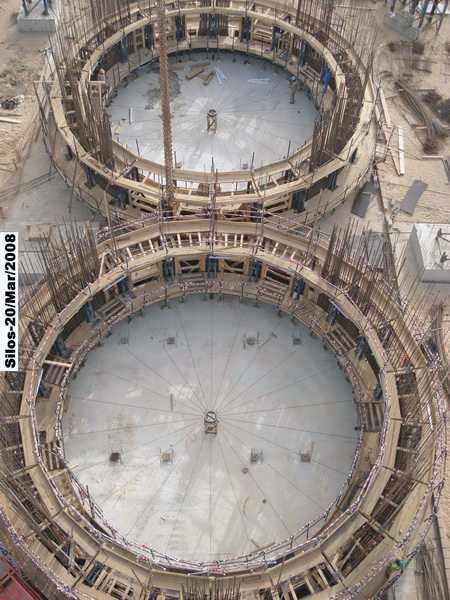 HCC Cement Plant, Sharjah, U.A.E.-Cement Silos-Sliding formwork, Construction phases