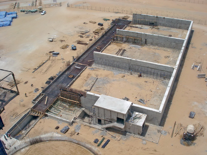 HCC Cement Plant, Sharjah, U.A.E.-Raw material shed-Analysis model, Foundation slab of varying thickness