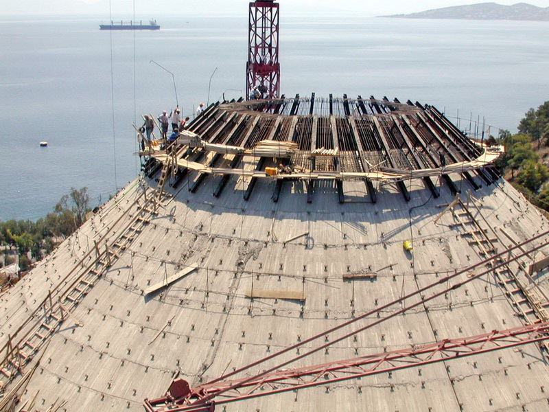 Clinker Silo 60.000 tn, Post-Tensioned, AGET Heracles Volos Plant-Steel structure, Free cantilever method, Construction phases