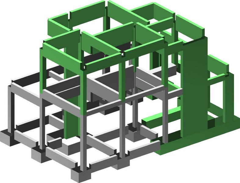Aneli Villas, Aegina Isle-Earthquake analysis building model, Strengthening with new shear walls