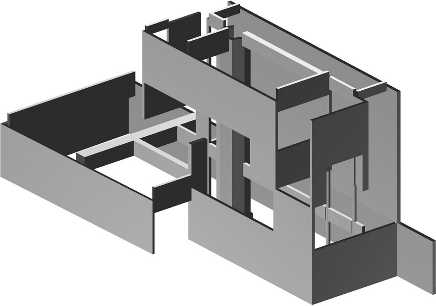 Houses of Minimal Design-Paiania-Earthquake analysis building model, Flat slab, Big walls with openings