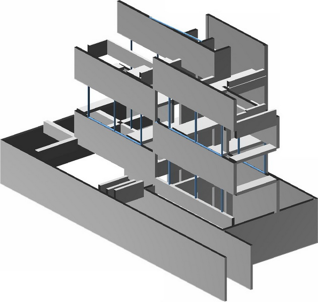Two Family House in Voula, Athens-Big walls with openings, Earthquake analysis building model