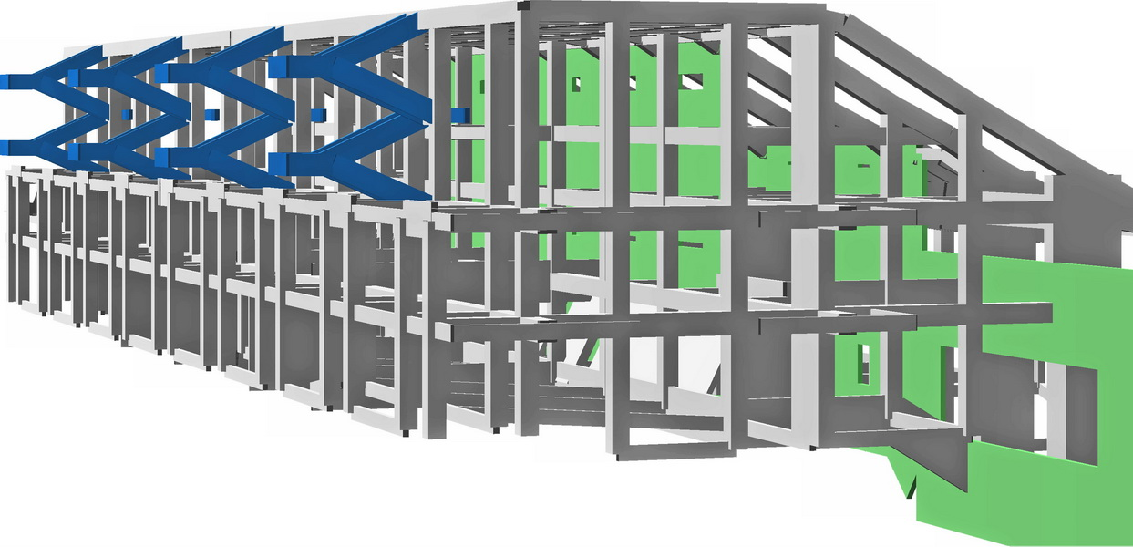 Olympic Open Swimming Center, OAKA, Athens-Big walls with openings, Concrete stairs, Earthquake analysis building model